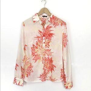 TAHARI Women's Floral Cotton Button Up Shirt Sz M